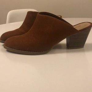 Old Navy Shoes - Brown faux suede heeled mules **must go!**